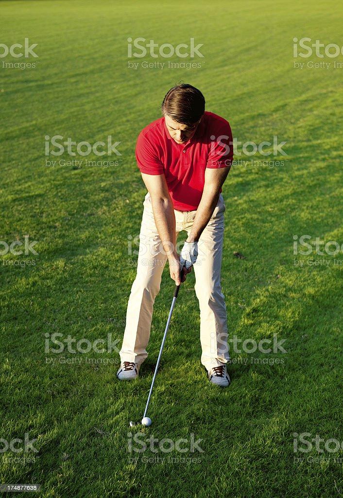 Adult man playing golf stock photo