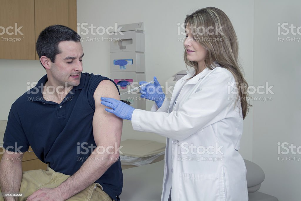 Adult Medical Injection - Flu Shot royalty-free stock photo
