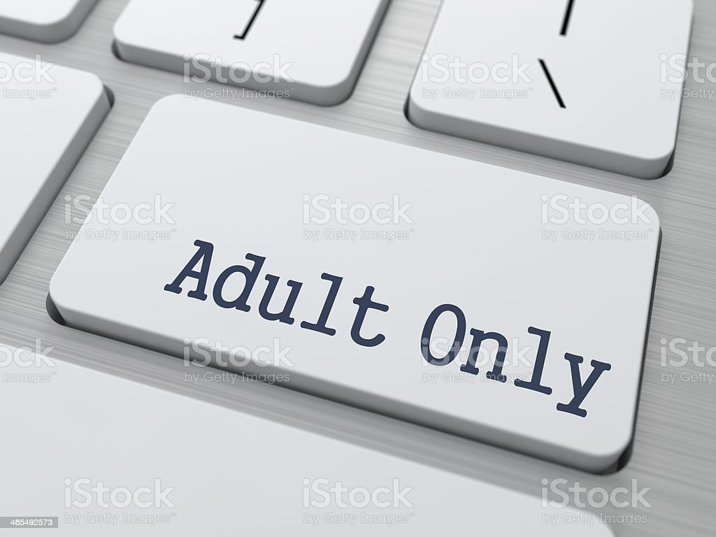 Adult Only Button on White Computer Keyboard. stock photo