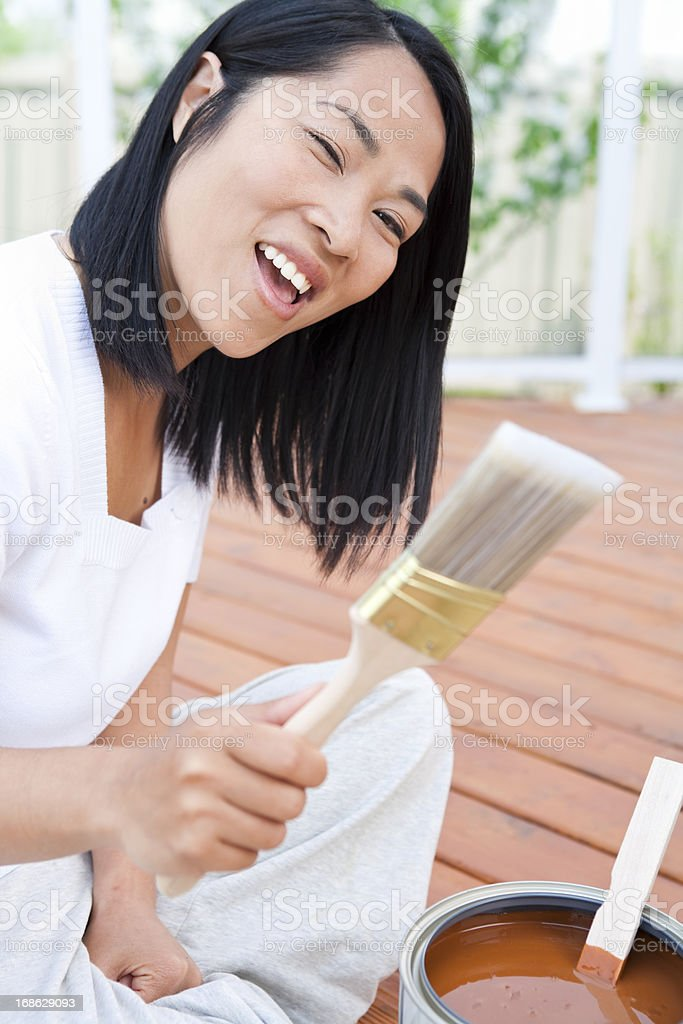 Adult preparing to paint stock photo