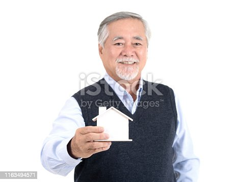 1145921132istockphoto Adult senior old man hold home close up house with copy space for your promotional or text isolated on white background ,Property investment and mortgage financial concept. 1163494571