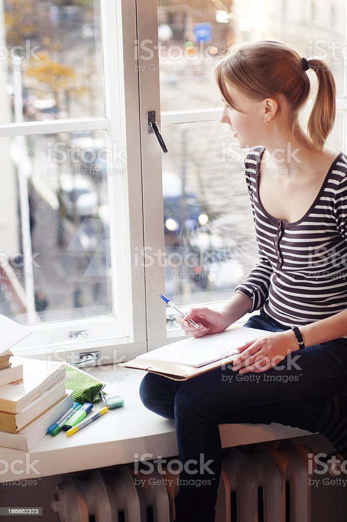 adult student at home stock photo