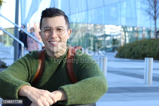 868483314 istock photo Adult student sitting on campus 1246317739