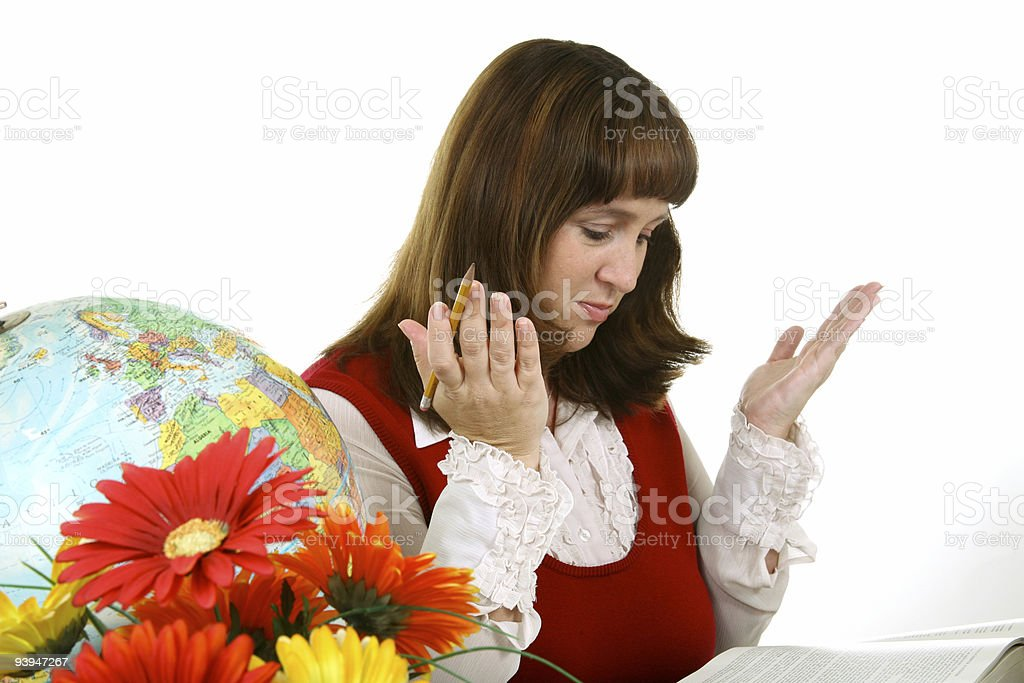Adult student teacher studying royalty-free stock photo