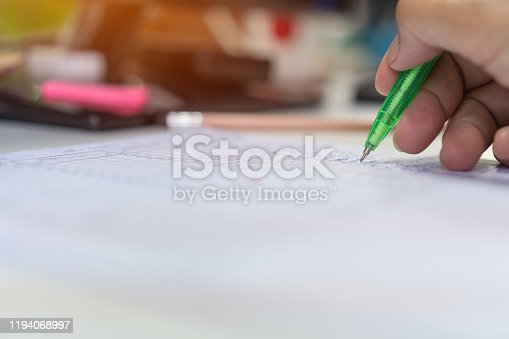 868148212 istock photo Adult student university study in class and hand note lecture in open notebook for exam. Adults education is practice in engage systematic, sustained self-educating activities in new knowledge skills 1194068997