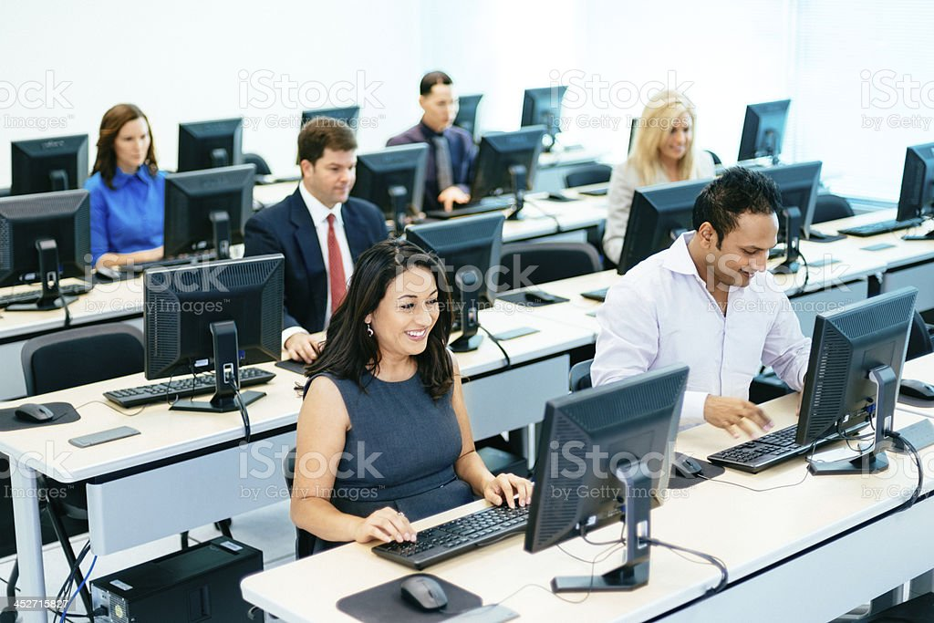 Adult Students in Computer Lab stock photo