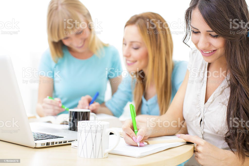 Adult  Students Learning At Home. royalty-free stock photo