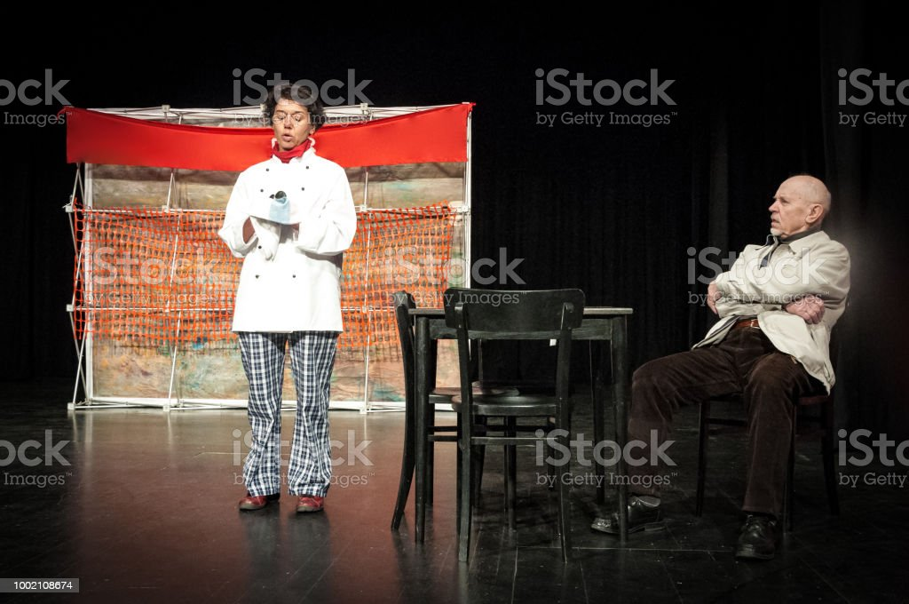 Adult Woman and Senior Man Actors Performing on Theatrical Stage.