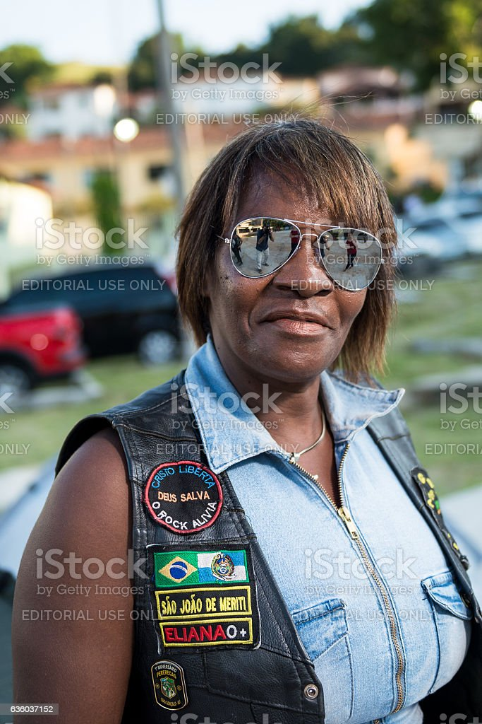 Adult woman biker, motorcycle festival, Rio de Janeiro State, Brazil stock photo