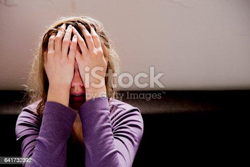 istock Adult woman having headache at home 641732392