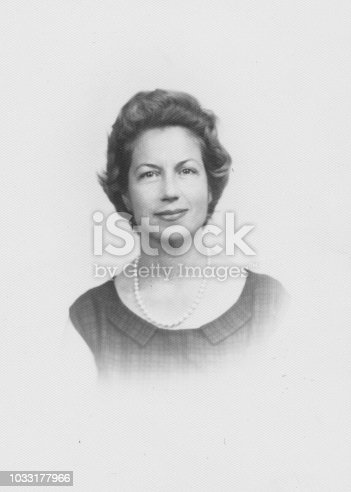 Adult woman portrait in 1934, black and white
