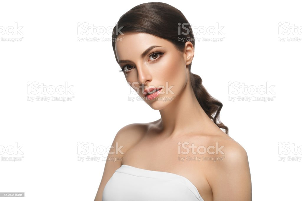 Adult woman portrait, skin care concept, beautiful skin healthy and pure. stock photo