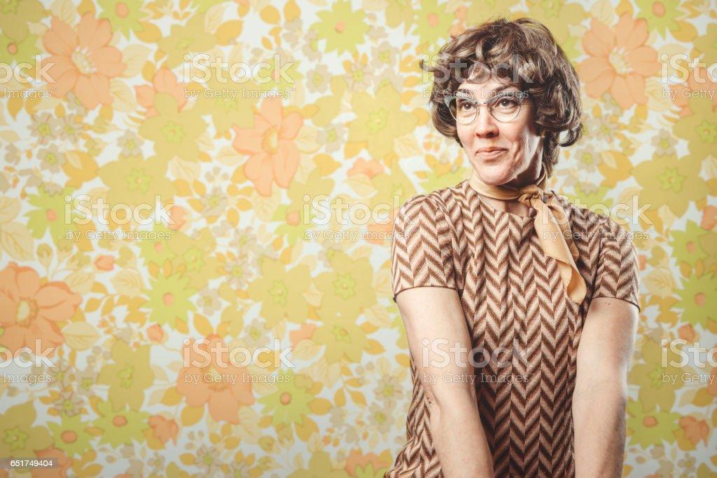 Adult Woman Retro Seventies Style stock photo