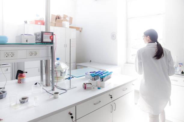 研究室では大人の女性の科学者 ストックフォト