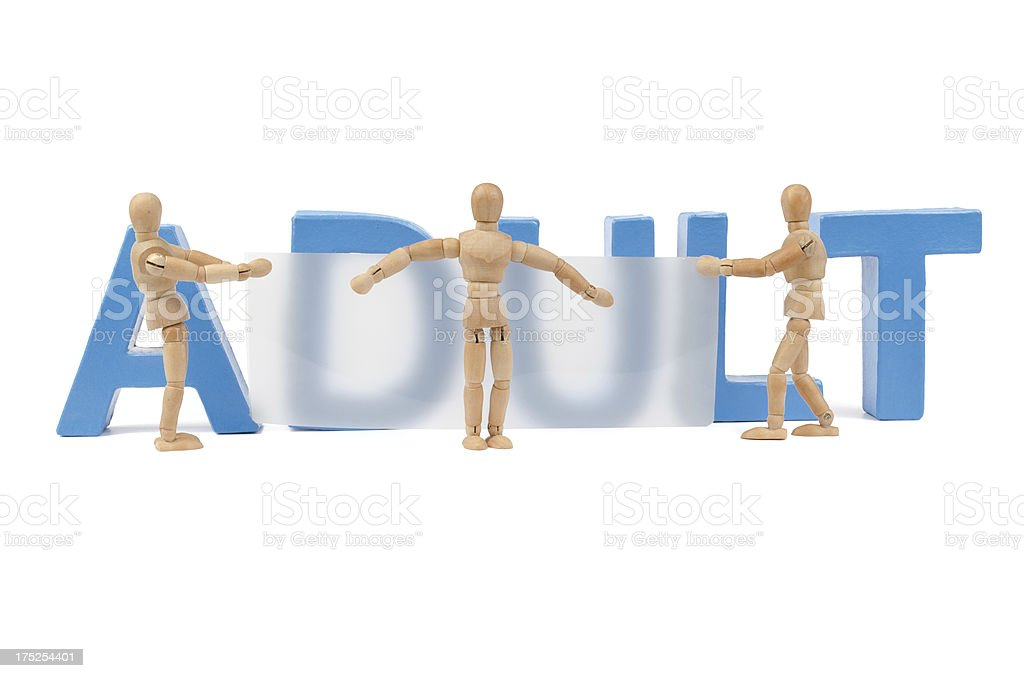 Adult - wooden mannequins tries to hide it royalty-free stock photo
