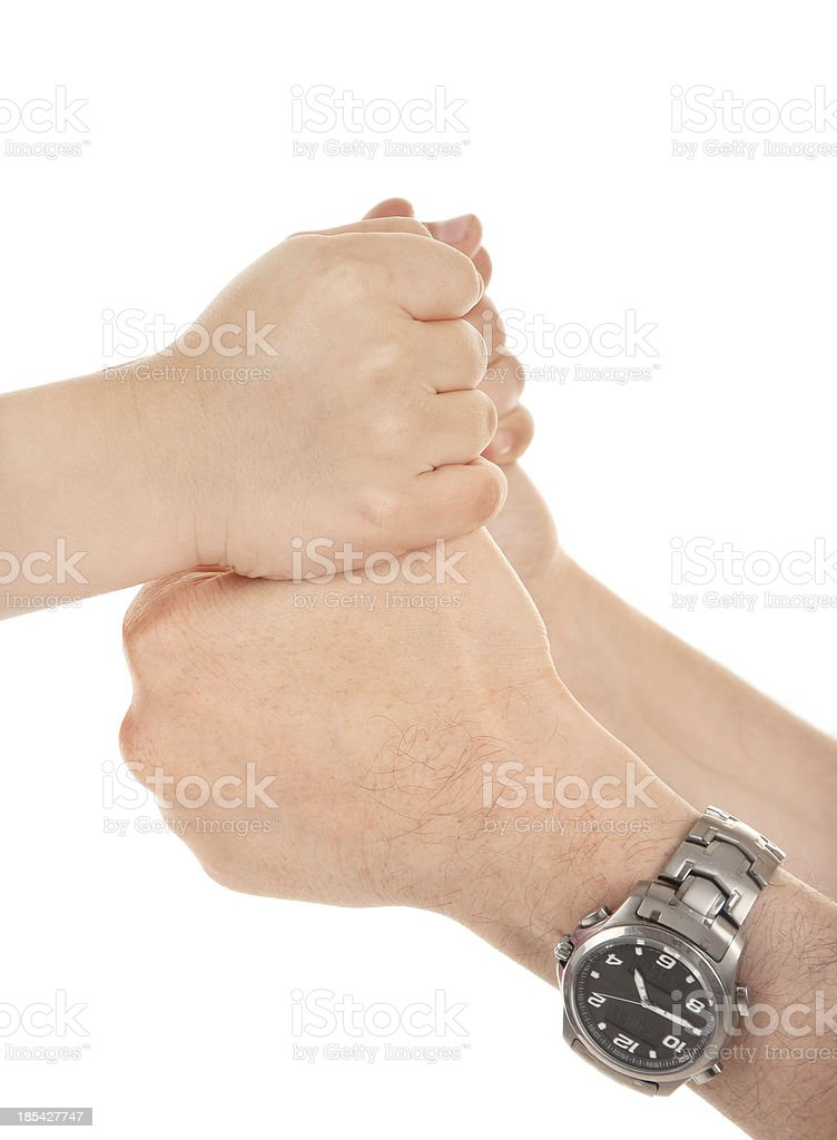 Adults and children's hands stock photo