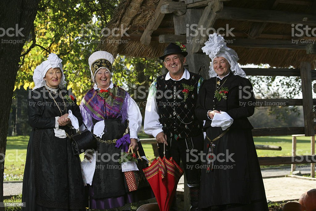 Adults dressed in Slovenian traditional clothes royalty-free stock photo