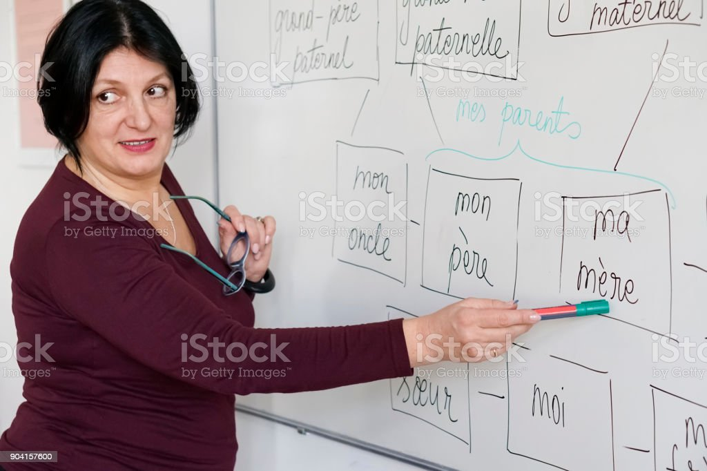 Adults learning a French language stock photo
