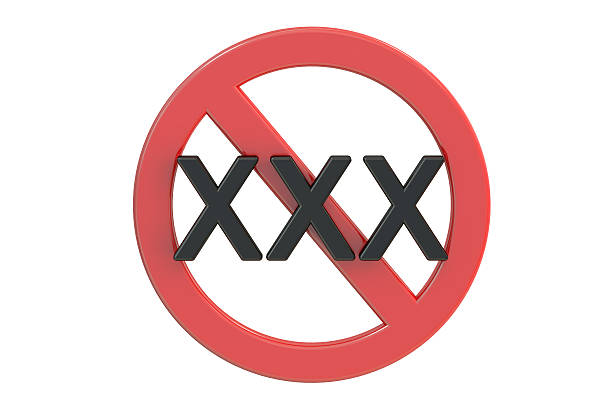xxx adults only content sign, 3d rendering - number 18 stock photos and pictures