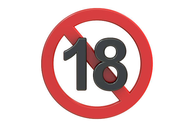 adults only content sign. age limit icon, 3d rendering - number 18 stock photos and pictures