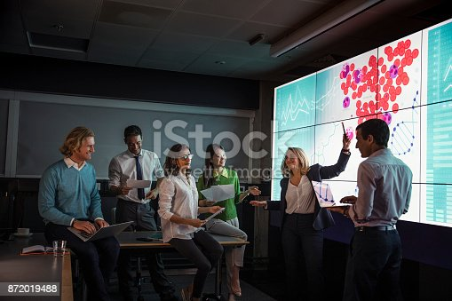 istock Adults Viewing Data on a Large Display Screen 872019488