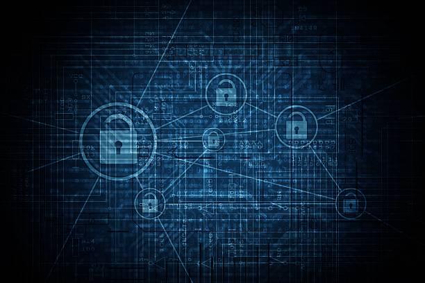 advanced encryption network - computador cadeado - fotografias e filmes do acervo