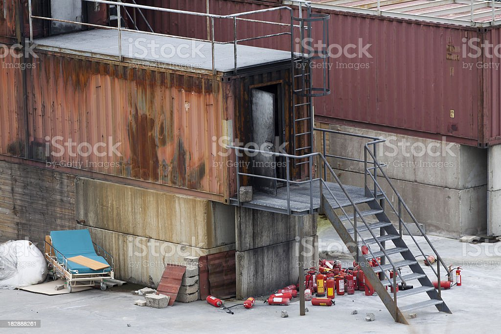 Advanced fire drill facility stock photo