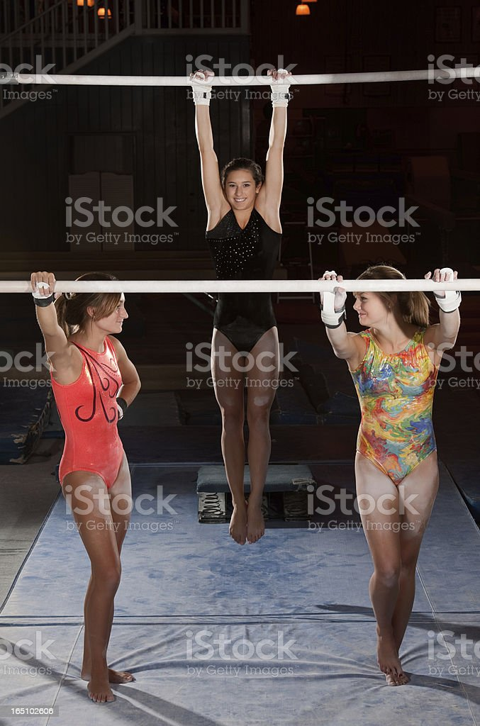 Advanced Gymnasts Relaxing stock photo