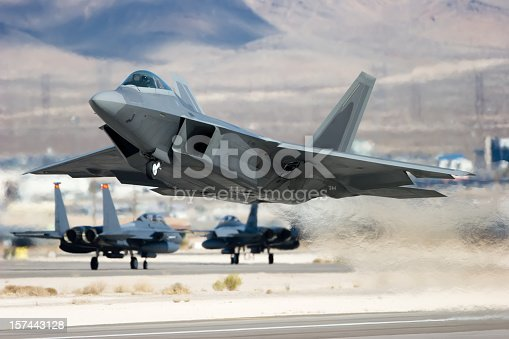 A modern jet aircraft taking off.