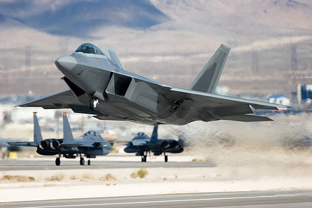 Advanced Tactical Fighter A modern jet aircraft taking off. advanced tactical fighter stock pictures, royalty-free photos & images
