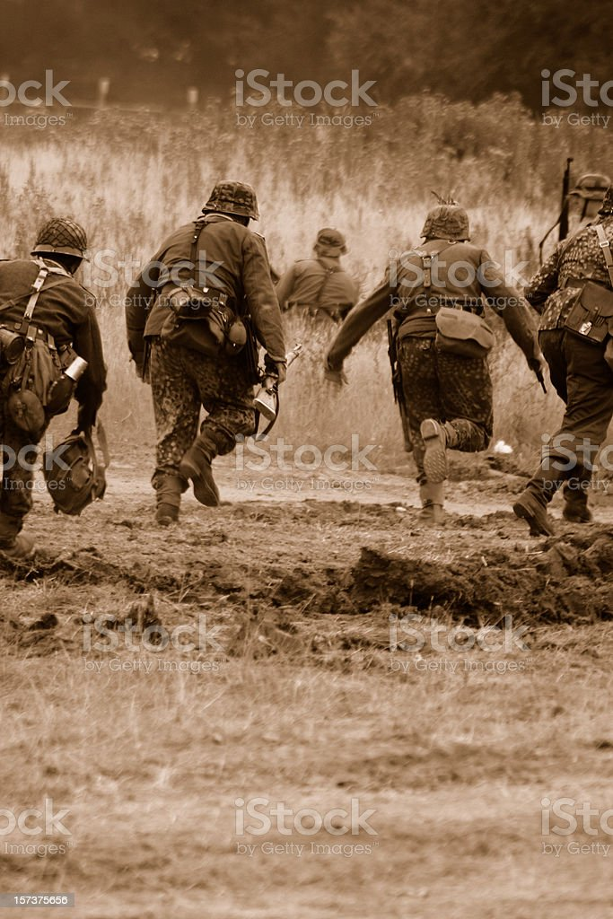 Advancing Soldiers. stock photo