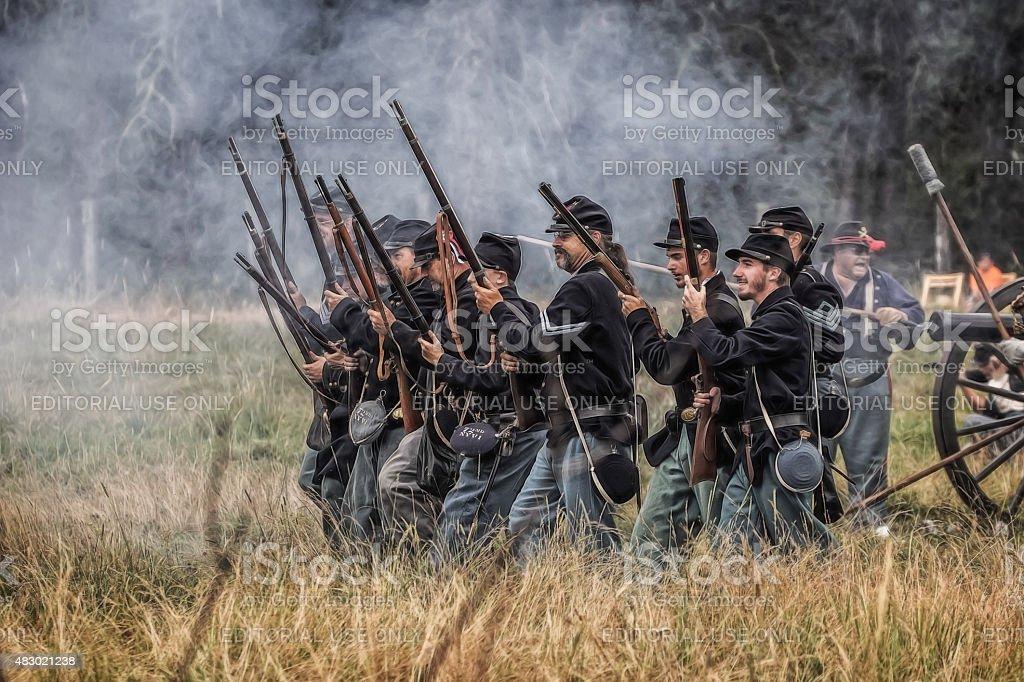 Advancing Through the Smoke stock photo