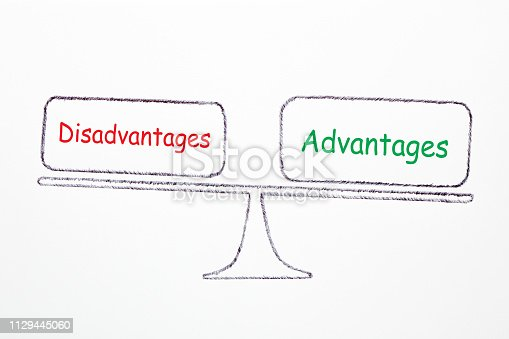 Drawing scale with text Advantages and Disadvantages on white background. Business concept.