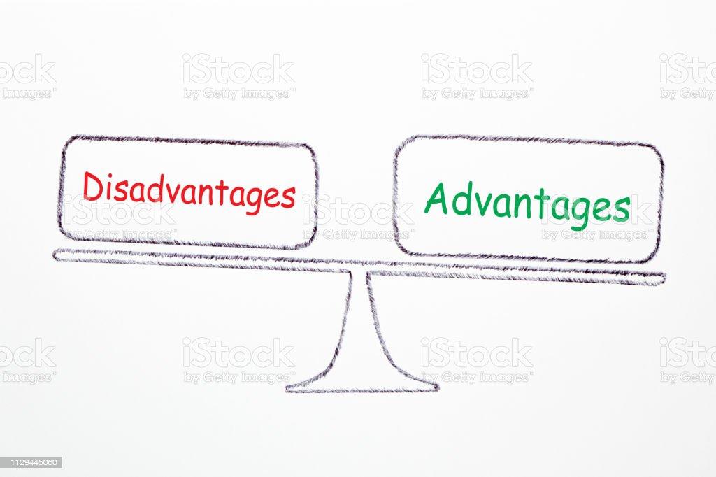 Advantages And Disadvantages Concept stock photo