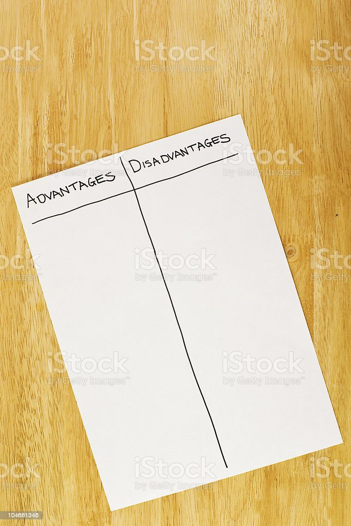 Advantages and Disadvantages royalty-free stock photo