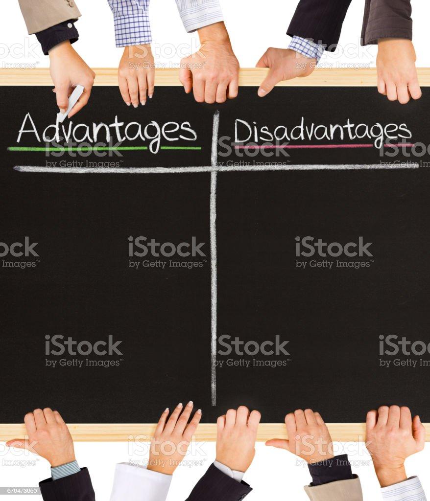 Advantages Disadvantages stock photo