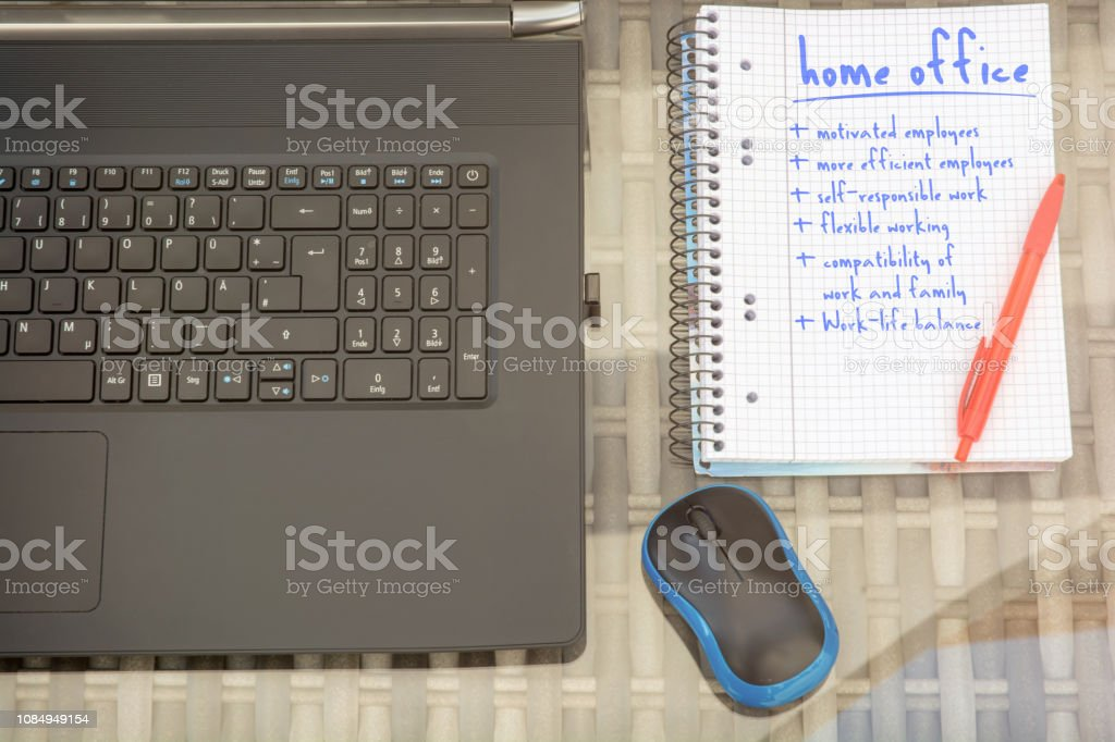 Advantages of the Home Office in an office workstation stock photo