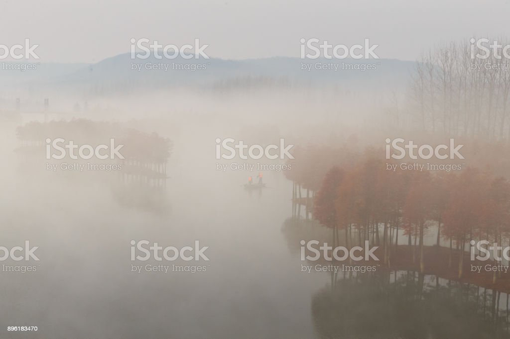 Advection Fog Above Lake stock photo