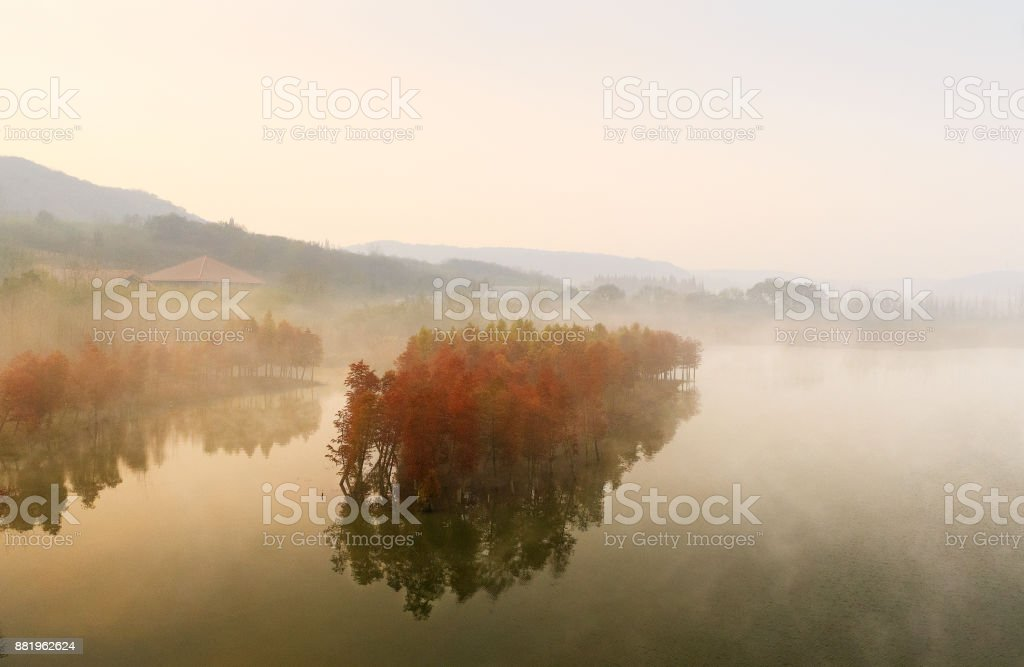 Advection Fog of Tianquan Lake stock photo