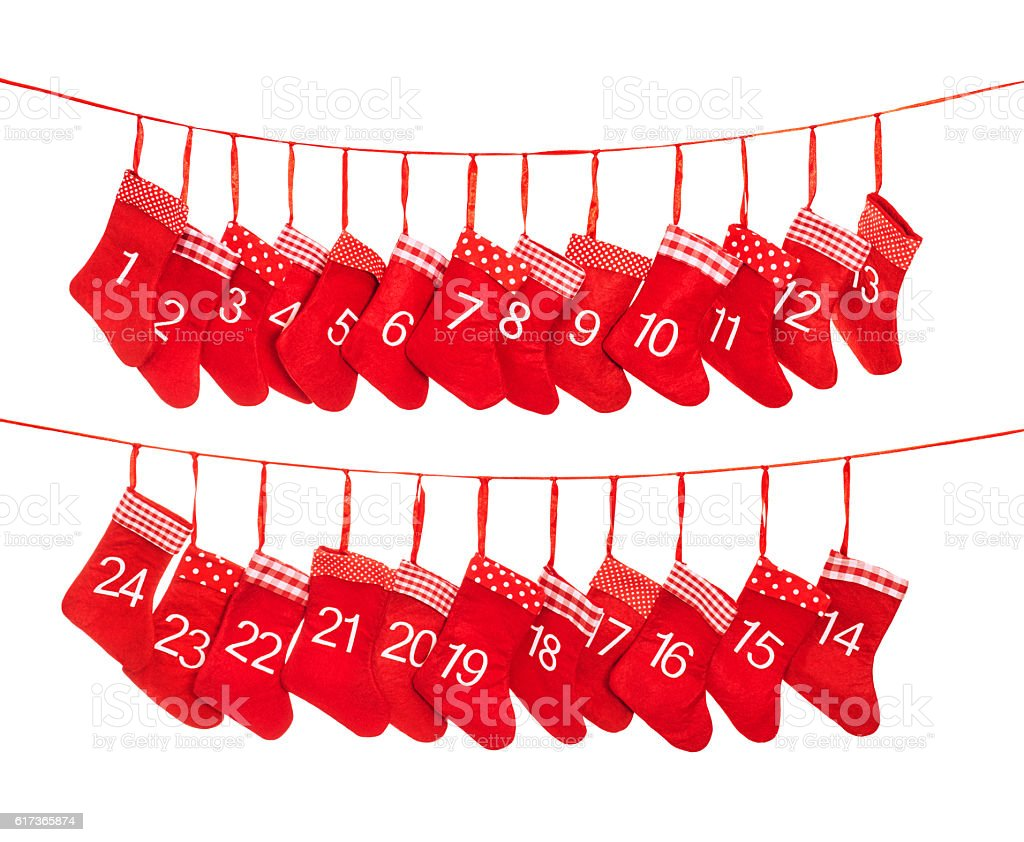 Advent calendar 1-24. Red christmas stocking decoration stock photo