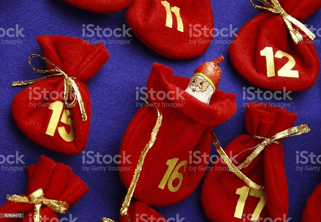 Advent calendar and Santa Claus royalty-free stock photo
