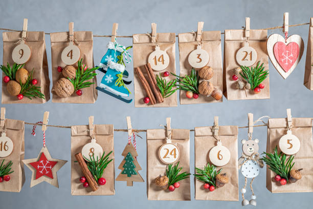 Advent Calendar for Christmas as countdown to Christmas Eve stock photo