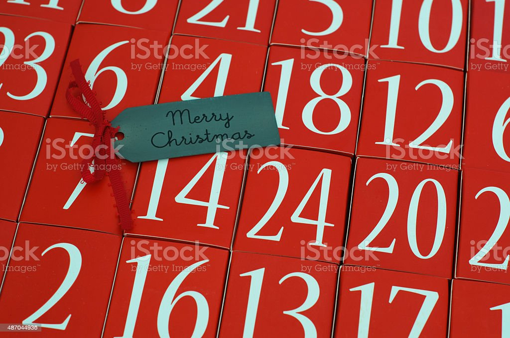 Advent Calendar - Merry Christmas stock photo