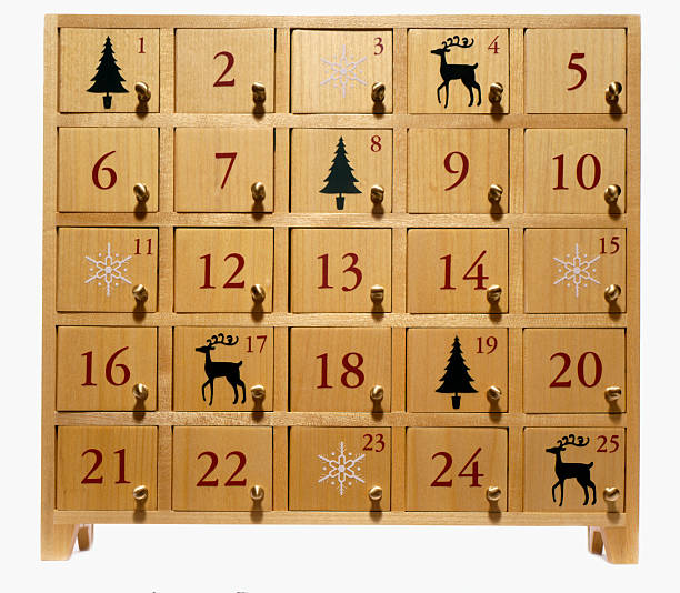 advent calendar on white - julkalender bildbanksfoton och bilder