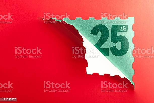 Advent Calendar Opened On The 25th December Stock Photo - Download Image Now