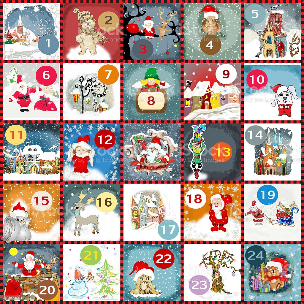 Advent calendar vector art illustration