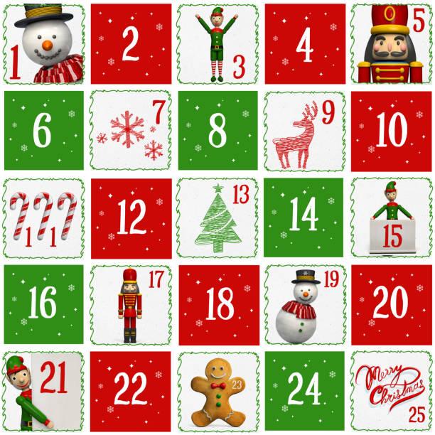 adventskalender mit weihnachtsmarkt zeichen - adventskalender stock-fotos und bilder