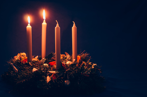 2 Advent Candle Burning On Advent Wreath Stock Photo - Download Image Now