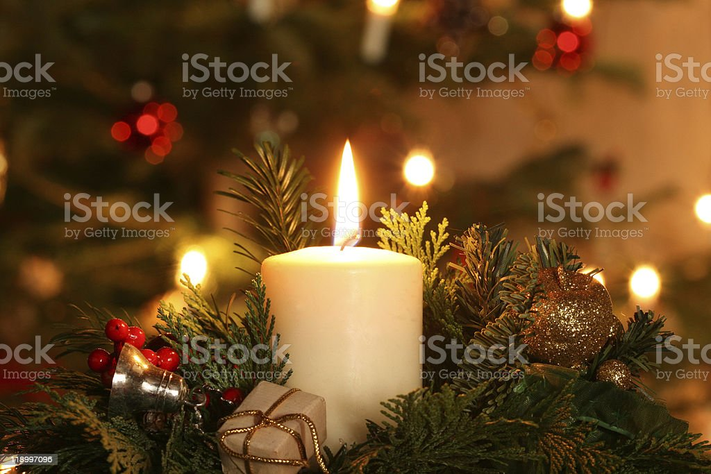 Advent Candle stock photo