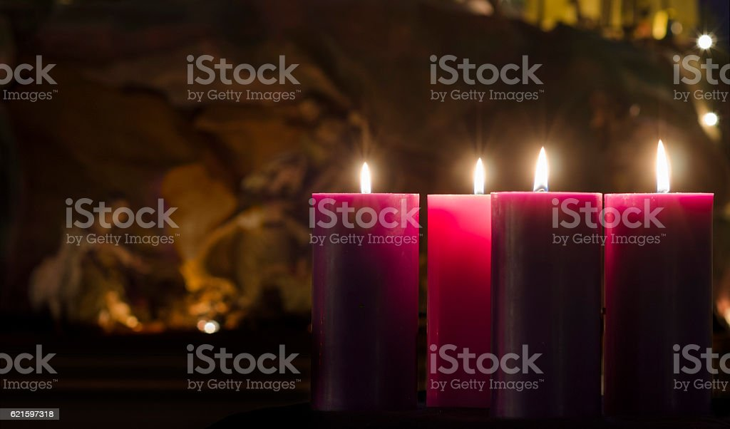 Advent Candles and Creche Week 4 stock photo
